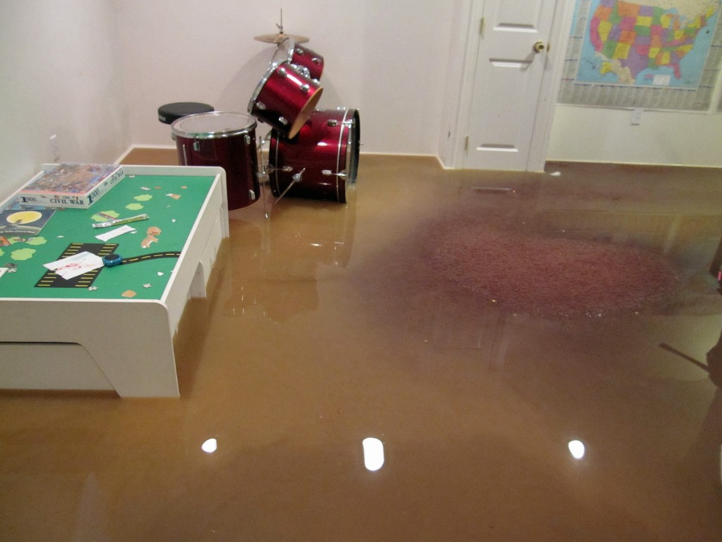 Water damage in basement