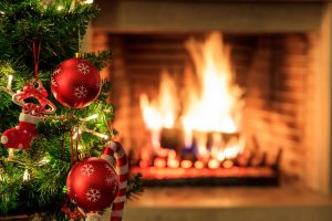 Fireplace and Christmas tree for fire safety tips