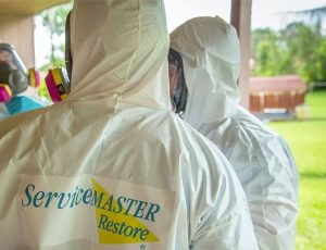 ServiceMaster Technicians in PPE suits preparing for commercial disinfection cleaning in Buffalo Grove, IL and Cook & Lake Counties, by ServiceMaster DAK