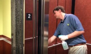 disinfecting inside of elevator